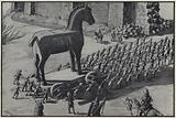 The Trojans dragged the Massive Wooden Horse within the Gates
