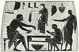 A Shoemaker's Shop in Ancient Greece, Lady being measured for Pair of Shoes