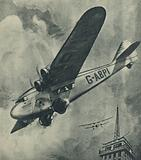 """The """"Atalanta,"""" Imperial Airways, swooping down at Croydon Airport"""