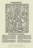 """Woodcut of Pope Gregory I, from the """"Dialogi,"""" Paris, 1508"""