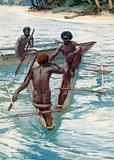 Pacific Islanders in their canoes