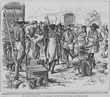 Lord Randolph Churchill bartering with Makalala people in a market during his trip to Mashonaland, 1891