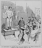 German bodybuilder Eugen Sandow being used as the subject of a lecture on anatomy for female students at Mrs Jopling's School of Art, London, 1891