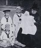 Queen Victoria with four of her grandchildren, Prince Edward (the future King Edward VIII), Prince Albert (the future …)