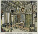 Design for a room in the Royal Palace in Sofia, Bulgaria, produced by the A Bembe furniture factory in Mainz, Germany