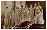 Queen Elizabeth II and her maids of honour on the day of her coronation, 2 June 1953