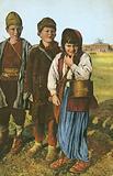 Group of three peasant children
