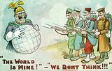 Allied soldiers thwarting Kaiser Wilhelm II of Germany's plans for world domination, First World War propaganda card
