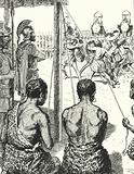 Captive Gauls fighting each other to the death in front of Hannibal for the opportunity to join the Carthaginian army