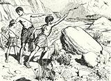 Hannibal and his brothers learning to throw stones with a sling