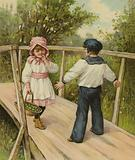 A boy telling a girl she must pay a toll to cross the bridge he is standing on