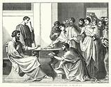 Macedonian Christians pressing their Gifts on Paul, II Corinthians VIII, 1–4