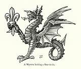 A Wyvern holding a fleur-de-lis