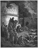 Gustave Dore Bible: Nehemiah viewing secretly the ruins of the Walls of Jerusalem