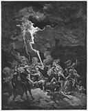 Gustave Dore Bible: Elijah destroys the messengers of Ahaziah by fire