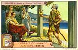 The Ancient Greek philosopher Diogenes presenting a chicken as a man to the Academy of Plato in Athens in response to …