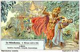 Scene from the Hindu epic poem the Ramayana: Ravana abducting Sita