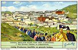 Ganden Monastery and procession of Buddhist pilgrims, Lhasa, Tibet