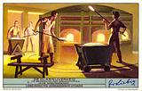 Loading raw materials for making glass into crucibles in a glassworks