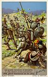 Scene from Spanish author Miguel de Cervantes' novel Don Quixote: Don Quixoteand Sancho Panza pelted with stones by the galley slaves they have just freed