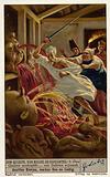 Scene from Spanish author Miguel de Cervantes' novel Don Quixote: Don Quixote's battle with the wine skins