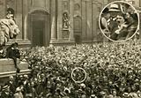 Adolf Hitler among the crowds on the Odeonsplatz in Munich on 2 August 1914, the day after Germany declared war on …