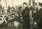 Nazi leaders Adolf Hitler and Joseph Goebbels visiting the graves of Nazis at the cemetery of Luisenstadt, Berlin, before the opening of the Reichstag on 21 March 1933