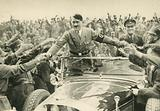 Nazi leader Adolf Hitler acclaimed by his supporters in Nuremberg, Germany, 1933