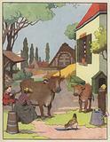 Woman milking a cow in a farmyard