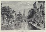 Groenburgwal canal looking towards the Zuiderkerk, Amsterdam, Netherlands