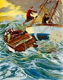 Scene from Four Valves and Sheila: a woman leaping from a motor boat to a yacht in rough seas