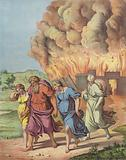 Lot and his family fleeing the destruction of Sodom