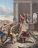 Solomon overseeing the building of the Temple of Jerusalem
