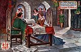 Sir John Stanley and Isabella De Lathom, his wife, examining Plan of Liverpool Tower, 1406