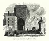 Old Tower, Market-place, Hexham, 1836