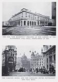 """The old """"His Majesty's"""" Theatre at the corner of the Haymarket, Pall Mall, demolished in 1895"""