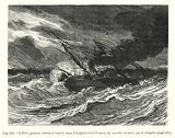 L'Elise, premier bateau a vapeur venu d'Angleterre en France, est assailli, en mer, par la tempete