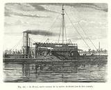 Le Brazil, navire cuirasse de la marine du Bresil, vue du fort central