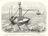 Navire portant un baril de feu gregeois, d'apres un manuscrit latin du XIIIe siecle