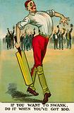 Pride: cricketer strutting after scoring a century
