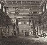 Reconstruction of the hall of an Assyrian king. Illustration for Bilder-Atlas.