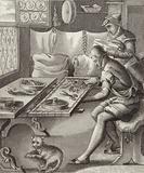 Silk embroiderer, 16th Century. Illustration for Bilder-Atlas.