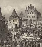 Execution of Czech Protestant rebel leaders in Prague, 1621. Illustration for Bilder-Atlas.