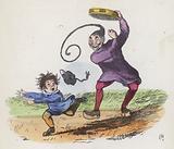 Boy frightened by a Chinaman playing a tambourine