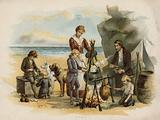 Scene from The Swiss Family Robinson: supper time after the first expedition