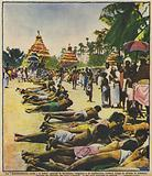 Civil disobedience in India: followers of Gandhi lying in the road in Jalalpur during the march to the sea in protest …