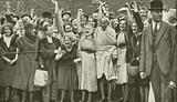 Mahatma Gandhi and cotton mill workers during his visit to Lancashire
