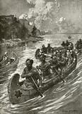 Samuel De Champlain in 1608 ascending the St Lawrence river in the canoes of friendly native American Indians