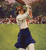 Girl batting in a game of cricket