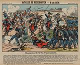 French cuirassiers charging Prussian infantry at the Battle of Reichshoffen, Franco-Prussian War, 6 August 1870